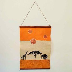 Kakemono-linogravure-elephant-girafe-jaune