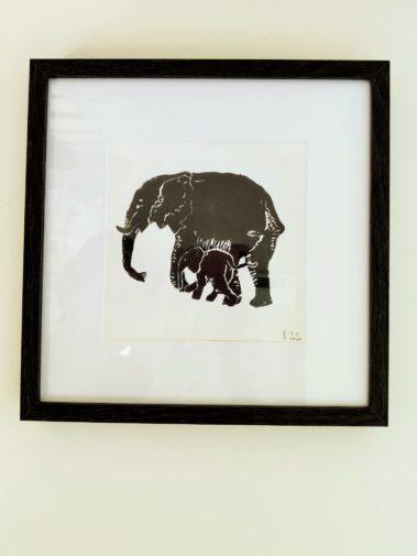 linogravure elephant