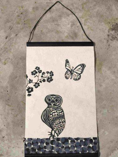 kakemono linogravure chouette papillon