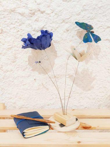 carnet cuir mobile fleur papier papillon