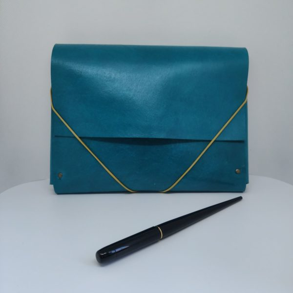 Pochette-cuir Organizer-bleu